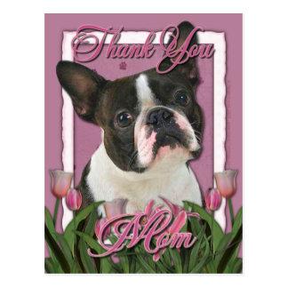 Tack - rosa tulpan - Boston Terrier Vykort