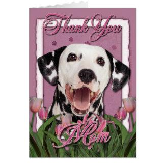 Tack - rosa tulpan - Dalmatian Hälsningskort