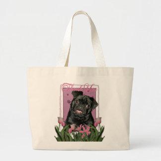 Tack - rosa tulpan - mops - Ruffy Tygkassar