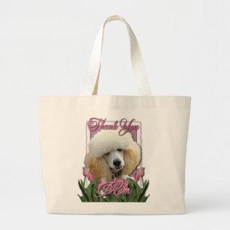 Tack - rosa tulpan - pudel - aprikos tote bags