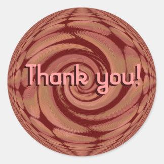 Tack! Rosig beige snurrabstrakt Runt Klistermärke