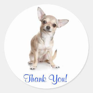 Tack som ler Chihuahuaklistermärken Runda Klistermärken