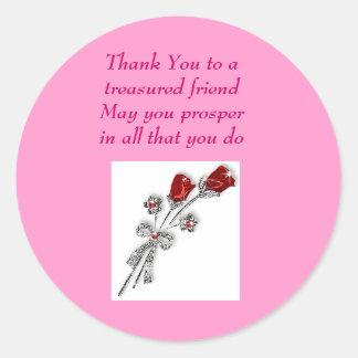 Tack till ett uppskattat friendMay blomstrar du… Runt Klistermärke