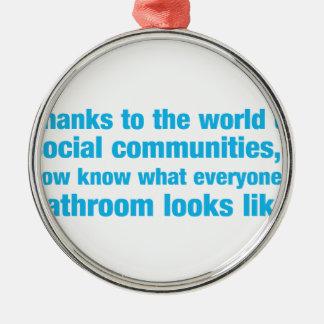 tack till världen av sociala gemenskaper som jag rund silverfärgad julgransprydnad