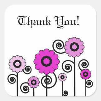 Tack tonade två, rosor blommar & virvlar runt fyrkantigt klistermärke