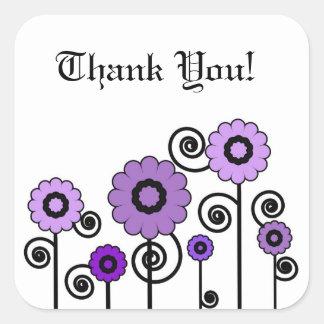 Tack två tonade lila blommor & virvlar runt fyrkantiga klistermärken