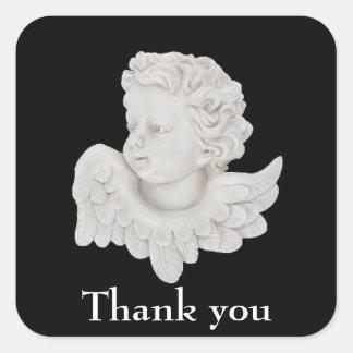 Tacka dig ängelgillandeklistermärken fyrkantigt klistermärke