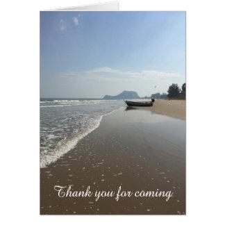 Tacka dig att card fartyget på en strand hälsningskort