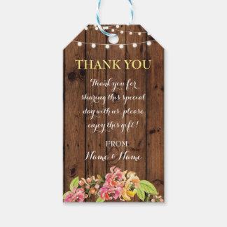 Tacka dig att märka bröllop för blommigten för presentetikett