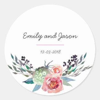 Tacka dig den blom- bukettbröllopklistermärken runt klistermärke