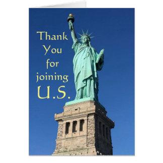 Tacka dig för att gå med U.S. Nya Hälsningskort