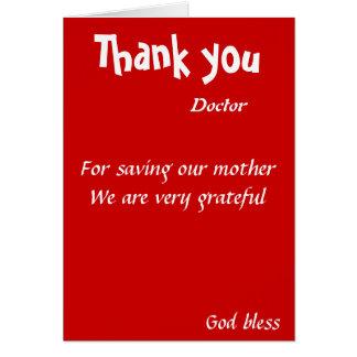 Tacka dig för besparing vår mordoktor hälsningskort