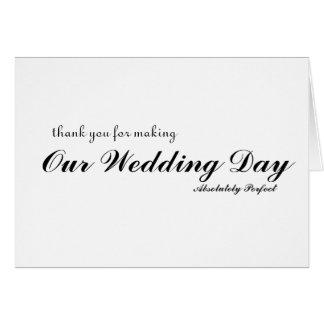 Tacka dig för bröllopsdagperfekt hälsningskort
