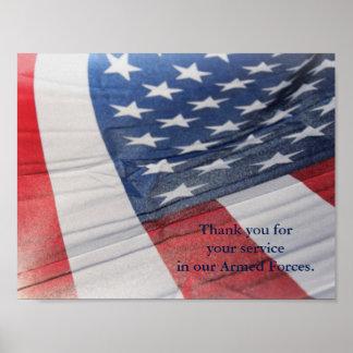 Tacka dig för din tjänste- krigsmaktaffisch poster