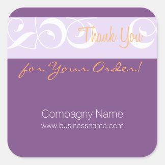 Tacka dig för ditt beställer den företags fyrkantigt klistermärke