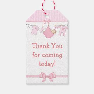 Tacka dig för kommande rosa baby showergåvamärkre pack av presentetiketter