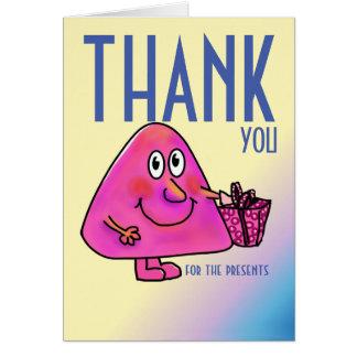 Tacka dig för presenter som det färgrika kortet hälsningskort