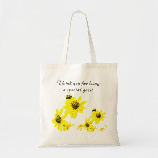 tacka dig hänger lös, gula daisyblommor kassar