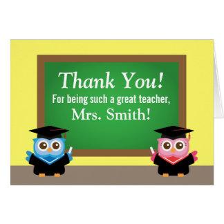Tacka dig lärare, studentenavskedet, gulliga ugglo hälsningskort