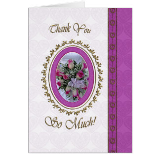Tacka dig med blommacameoen hälsningskort