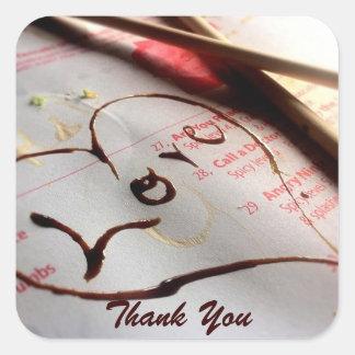 Tacka dig med kärlek fyrkantigt klistermärke