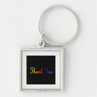 Tacka dig med regnbågefärgtext fyrkantig silverfärgad nyckelring