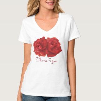 Tacka dig röd rosanpassningsbarT-tröja T-shirt