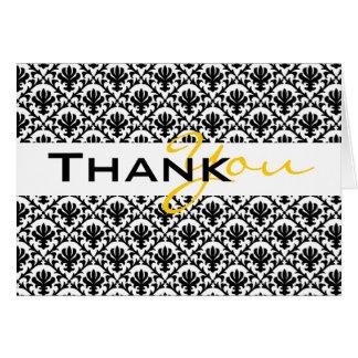 """""""tacka dig"""" svart gult damastast bröllop hälsningskort"""