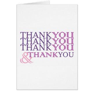 Tacka dig tackar dig tackar dig att card i hälsningskort