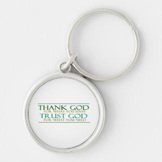 Tacka gåvor för gudförtroendeguden rund silverfärgad nyckelring