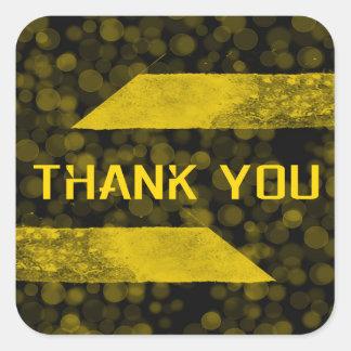 Tacka som dig, kvadrerar guld klistermärken