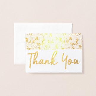 Tacka som dig, omkullkastar guld kortblommönstret folierat kort
