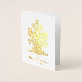 Tacka yu guld- kungliga ugglor folierat kort