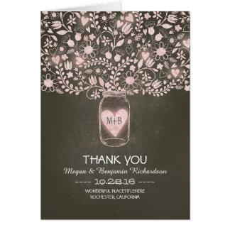 Tackar blom- bröllop för den rosa masonburken dig OBS kort