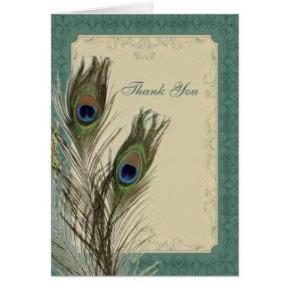 tackar blom- påfågelbröllop för elegant vintage OBS kort