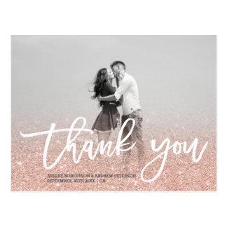 Tackar det rosa fotoet för rosa guld- fauxglitter vykort