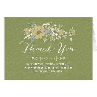 Tackar handskrivna moderna blommor för minten dig OBS kort