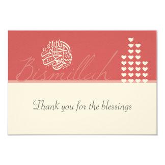 Tackar islamisk damast för islam dig 8,9 x 12,7 cm inbjudningskort