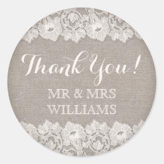 Tackar lantligt bröllop för Burlap och för snöre Runt Klistermärke