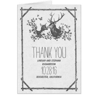 Tackar lantligt bröllop för hjortland dig kort