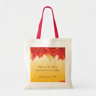 tackar röda löv för nedgång dig hänger lös budget tygkasse