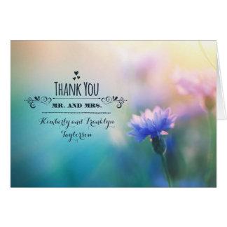 Tackar romantiskt bröllop för blåttvildblomman dig OBS kort