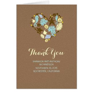 tackar romantiskt bröllop för strandkärlekhjärta OBS kort