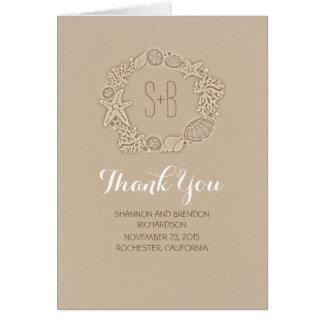 tackar romantiskt bröllop för strandkraninitialer OBS kort