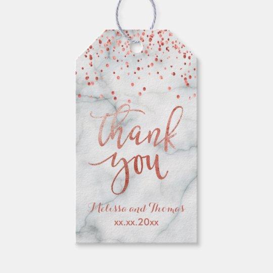 tackar rosa guld- konfettiar för faux dig presentetikett