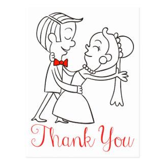 Tackbrud och svartvitt bröllop för brudgum vykort