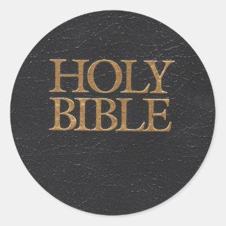 Täcker den heliga bibeln för svart läder runt klistermärke