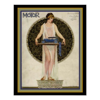 Täcker den motoriska tidskriften för art déco 16 x poster