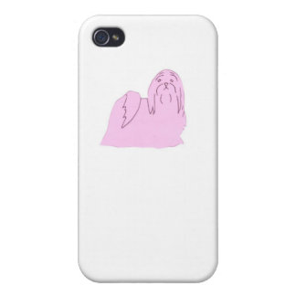 Täcker det hårda fodral för den rosa Shih Tzu ipho iPhone 4 Skydd