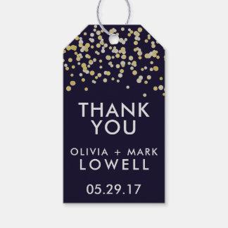TACKgåvan märker guld för bröllopfavörkonfettiar Presentetikett